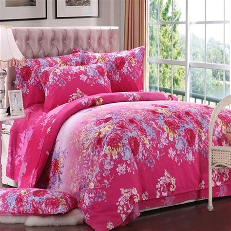 rose color comforter set reactive print 4pcs rose color flowers bedding sets luxury
