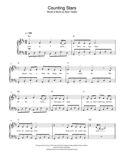 Counting Stars Keyboard Tutorial Easy | counting stars sheet music by onerepublic easy piano