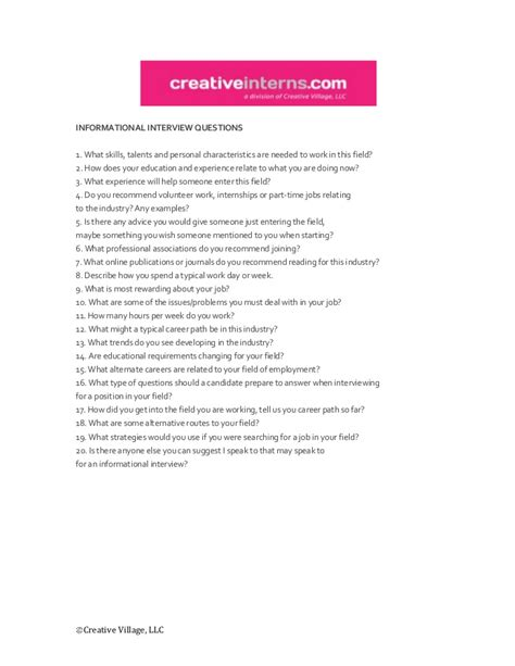the informational interview 8 questions to ask carroll