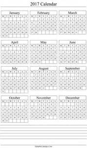 Whole Year Calendar Template by Yearly Calendar 2017 Printable Template