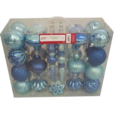 walmart ornaments pack time 40 count shatterproof ornament set teal blue walmart