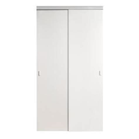 Home Depot Mirrored Closet Doors Impact Plus 48 In X 80 In Smooth Flush White Solid Mdf Interior Closet Sliding Door With