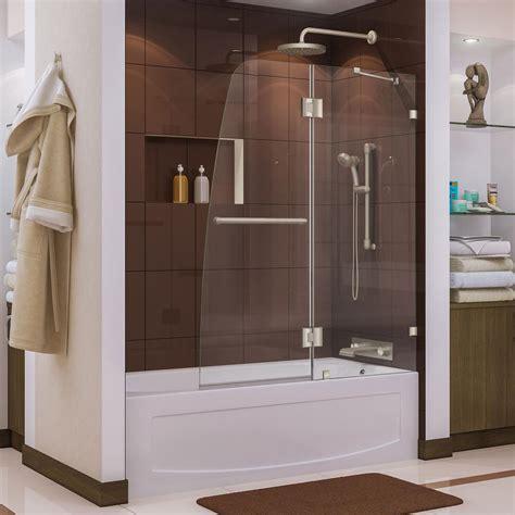 48 pivot shower door dreamline aqua 48 in x 58 in frameless pivot tub