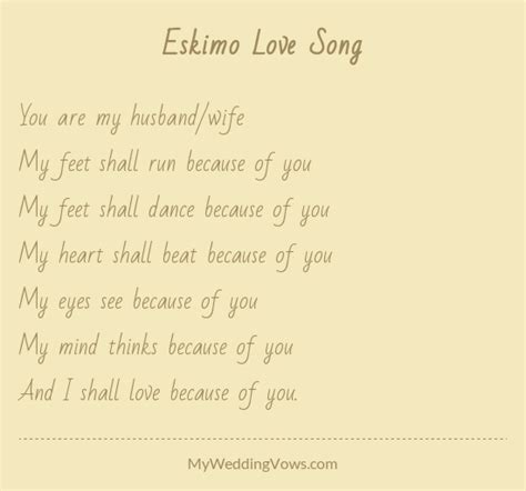 Wedding Vows Poems by Eskimo Song Wedding Readings Wedding Vows And