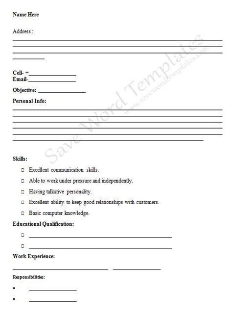 Resume Fill In The Blanks Free Template