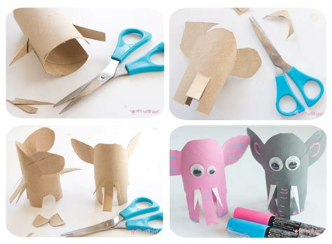 How To Make A Elephant Out Of Paper - jungle playset from toilet paper roll crafts