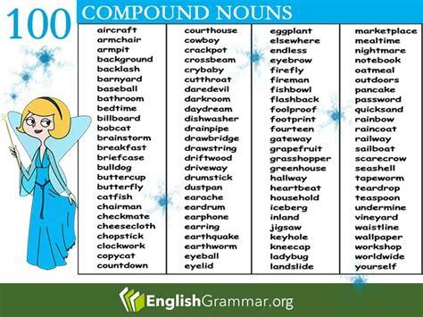 compound noun list vocabulary home