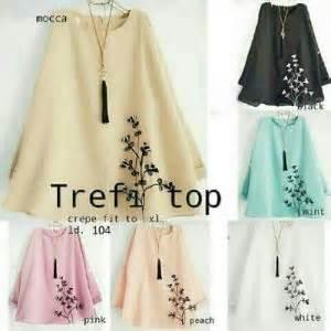 Murah Alya Tunik Blouse Atasan Top Katun Bordir Jepang Bestseller baju atasan trefi blouse crepe bordir blus wanita murah