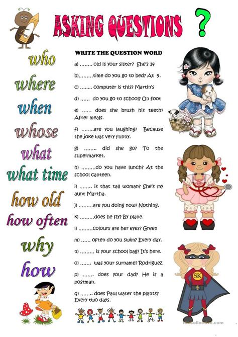 asking questions worksheet free esl printable worksheets