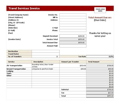 travel service invoice travel service invoice template
