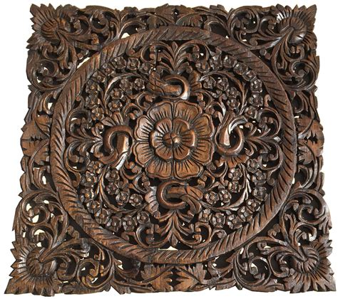 carved wood wall decor floral wood wall plaque brown 24 quot square wall sculptures