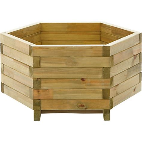 hexagonal wooden garden trough planter