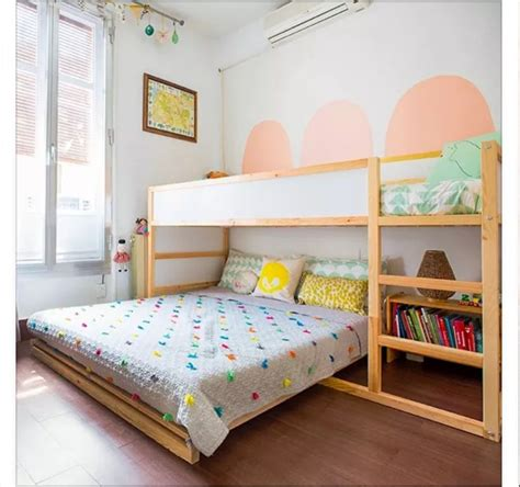toddler bedroom ikea kura bed with full bed under girls shared room