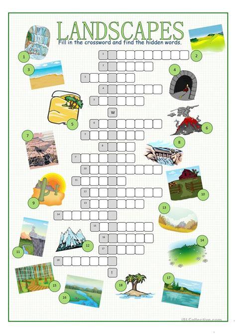 Landscape Architecture Words Landscapes Crossword Puzzle Worksheet Free Esl Printable