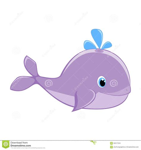 ballenas animadas baby whale with water splash vector illustration cute