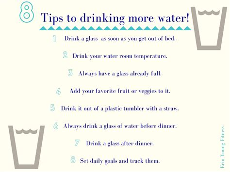 8 Tips On How To 8 Tips To More Water Erin Fitness