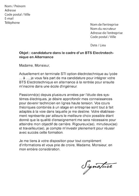 Exemple De Lettre De Motivation Bts En Alternance Lettre De Motivation Bts 201 Lectrotechnique Alternance Mod 232 Le De Lettre