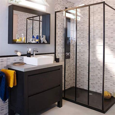 salle de bain dans combles 4586 paroi de fixe 120 cm noir zenne castorama