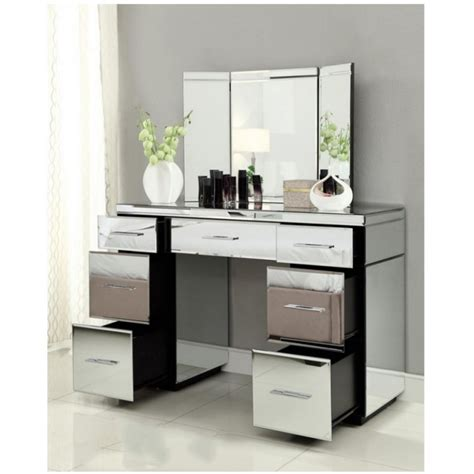 mirrored console vanity table mirrored dressing table console 7 drawer mirror