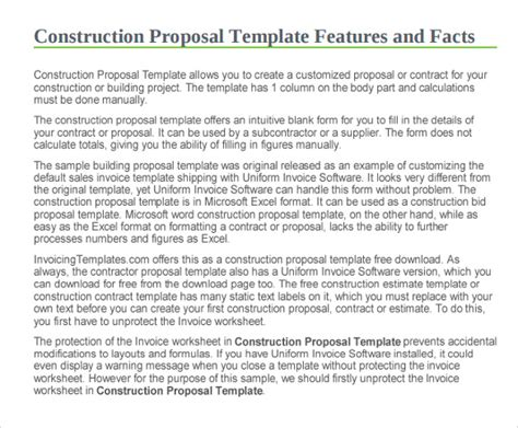 sle construction proposal template 11 free documents