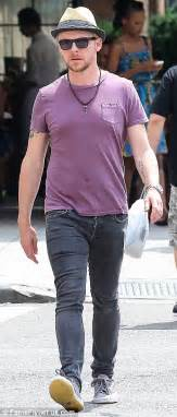 simon pegg displays a hint of moobs as he hits new york to