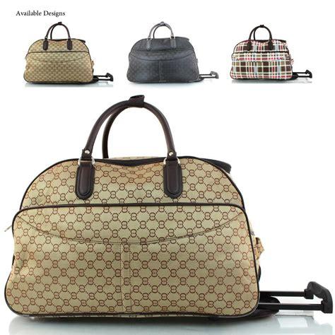designer cabin luggage new womens designer inspired wheeled holdall cabin bag