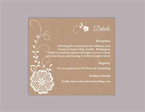 Florist Enclosure Card Template by Diy Lace Wedding Details Card Template Editable Word File