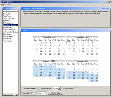 Calendar Java Java Date Chooser Combobox Calendar 171 Swing Components