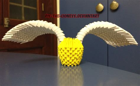 Origami Golden Snitch - 3d origami golden snitch by brownblurry on deviantart
