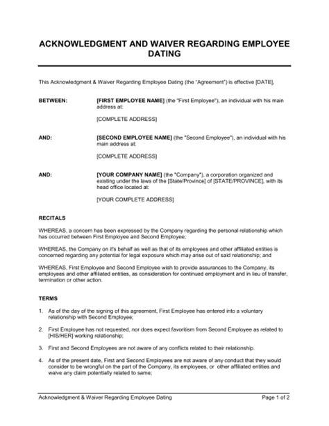 acknowledgement agreement template acknowledgment and waiver about employee dating template