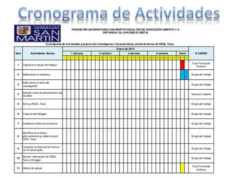 unadm cronograma de actividades diarias presentaci 243 n cronograma de actividades