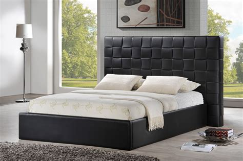 queen size black headboard prenetta black modern bed with upholstered headboard