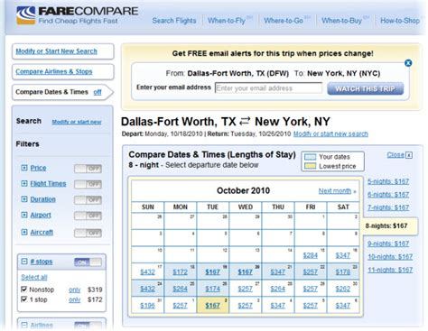 Calendar Compare Dates How To Find Cheap Flights When Your Flight Dates Are