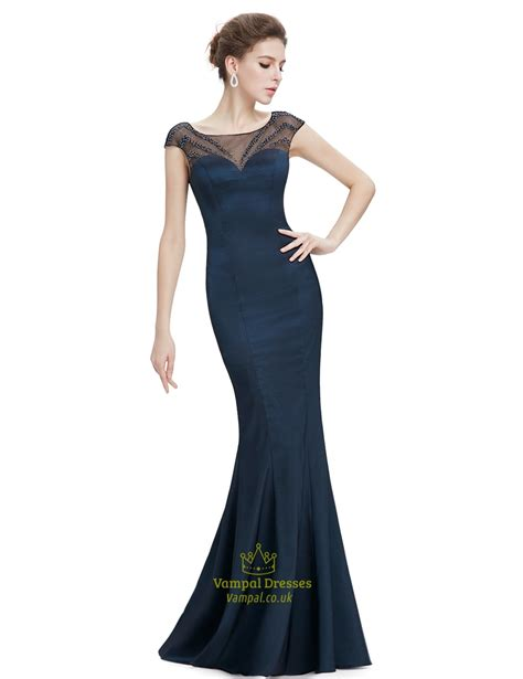 navy blue beaded prom dress navy blue sheer back prom dresses with beaded top val