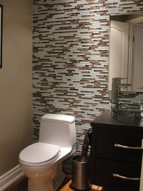 glass tile powder room powder room wall tile and glass vessel sink powder