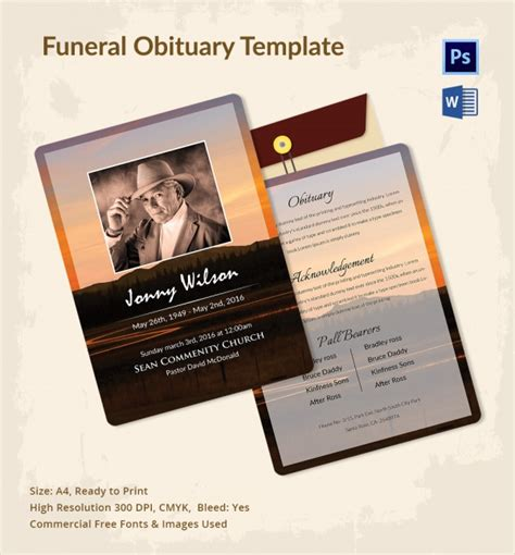 funeral obituary templates sle funeral obituary template 11 documents in pdf