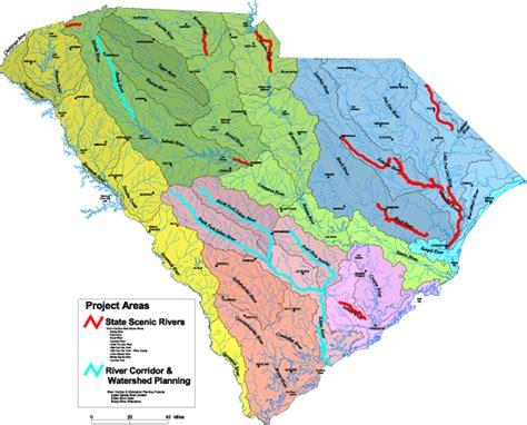 map of carolina rivers and creeks scdnr scenic rivers water basins