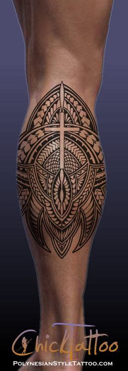cross tattoos on calf cross polynesian style calf design tattoos