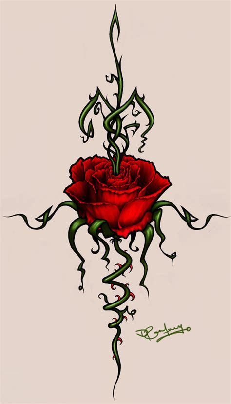 black rose with thorns tattoo tattoos image by vincent