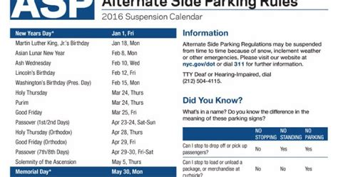Alternate Side Parking Nyc Calendar Search Results For Alternate Side Parking Schedule For