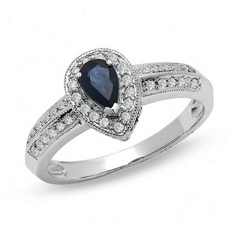 pear shaped blue sapphire vintage style engagement ring in