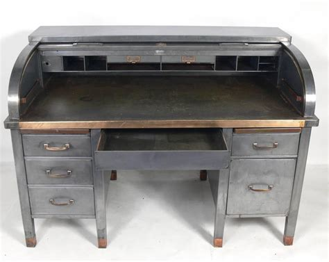 1930s Banker S Roll Top Industrial Desk For Sale At