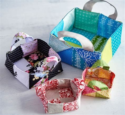 Patchwork Basket - colorful patchwork bags and baskets get my craftsy class