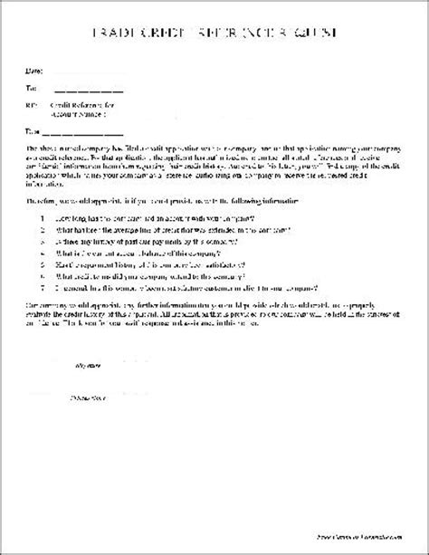 Trade Credit Reference Letter Template Credit Reference Form Free Printable Documents