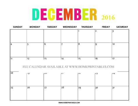 printable calendar 2016 pretty free printable december 2016 calendar home printables