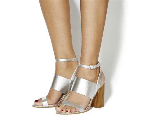 Office Heels 9cm office time 3 block heel sandals silver leather wood