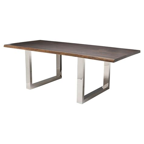 Zinnia Industrial Brown Oak Stainless Steel Dining Table 78w Steel Dining Table