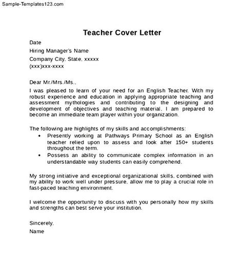 exle of teacher cover letter format sle templates