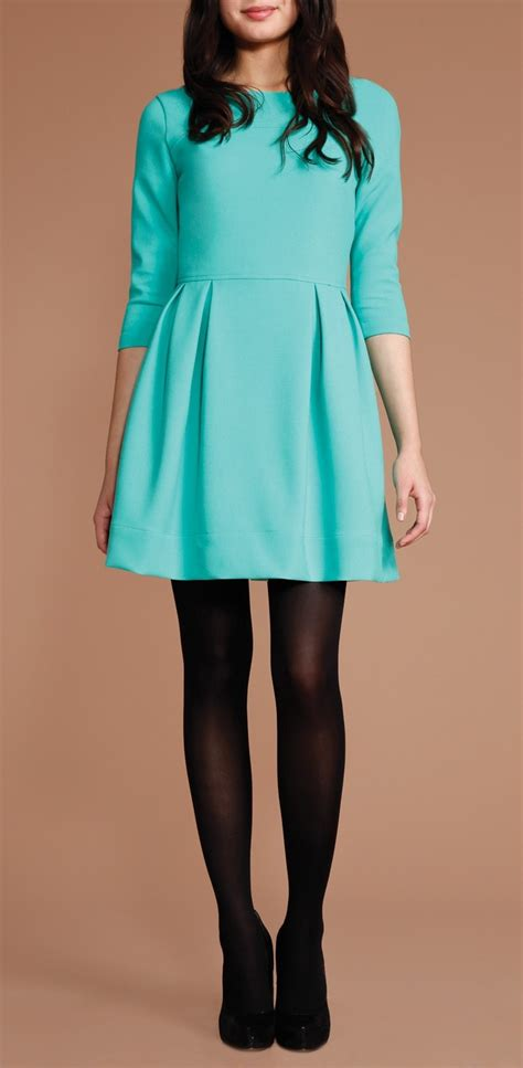 teal dress with black tights and heels to wear maybe