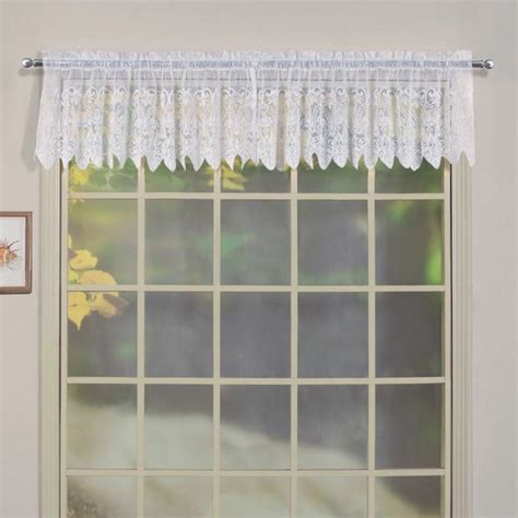 united curtain valerie voile and macrame kitchen valance